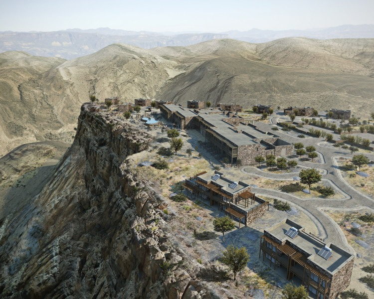 Aerial CGI of the Alila Jabal Akhdar resort